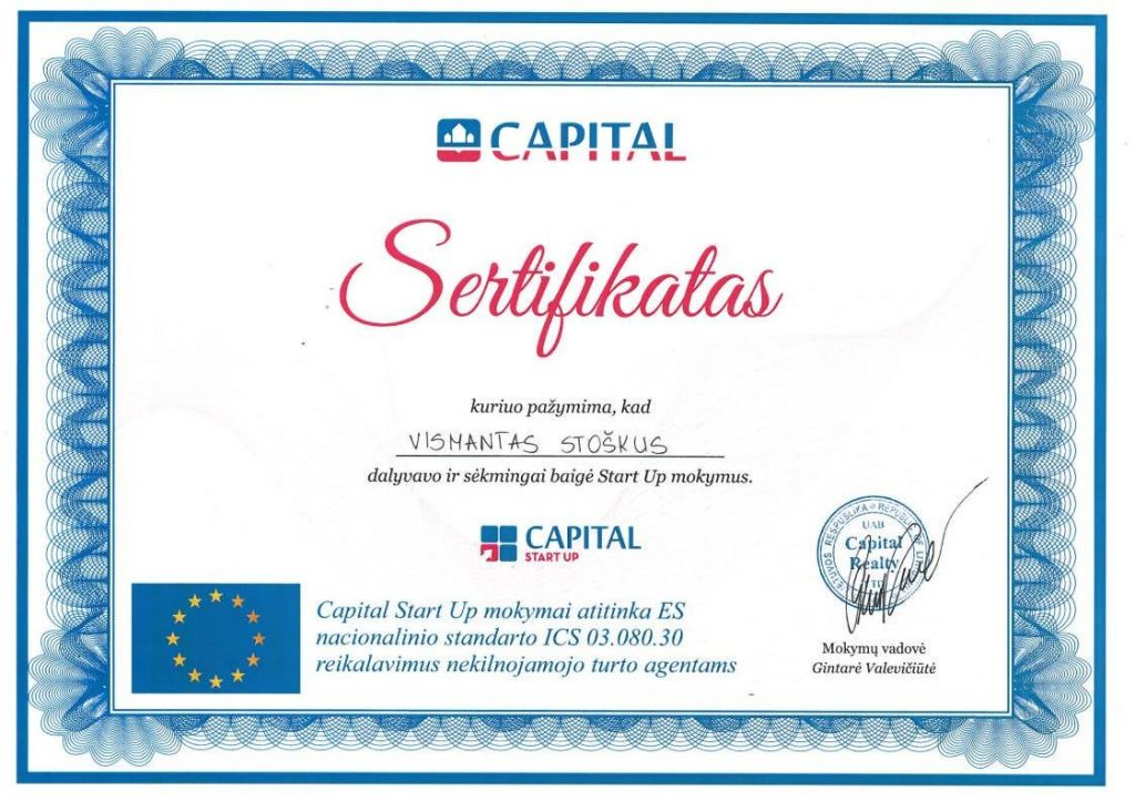 Capital Start Up sertifikatas
